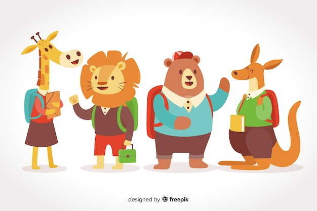 Back to school animal collection on gradient background Free Vector