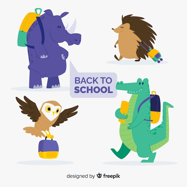 Back to school animal collection with backpack Free Vector