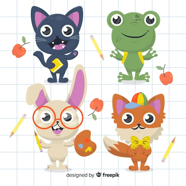 Back to school animal collection with cute cat Free Vector