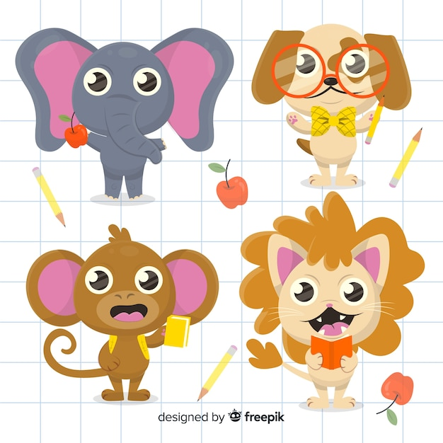 Back to school animal collection with dog Free Vector