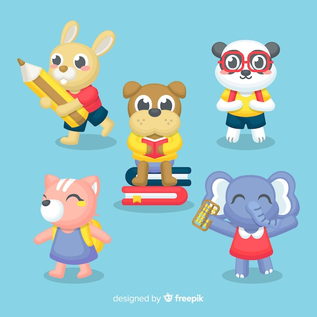 Back to school animal collection Free Vector