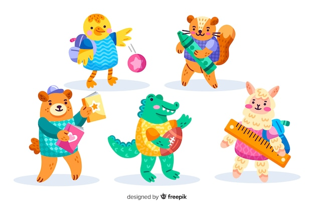 Back to school animal playing outside collection Free Vector