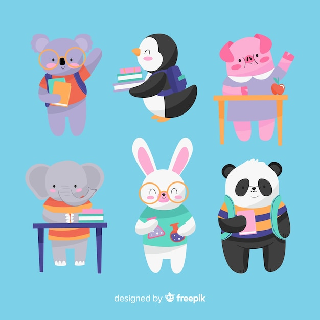 Back to school animal sitting collection Free Vector