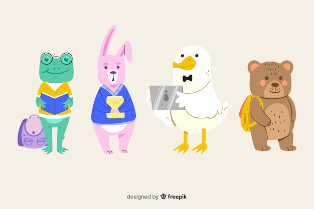 Back to school animals ready to study pack Free Vector