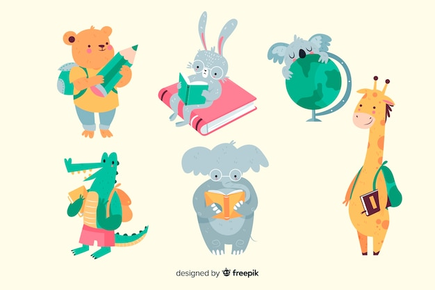 Back to school animals ready to study set Free Vector