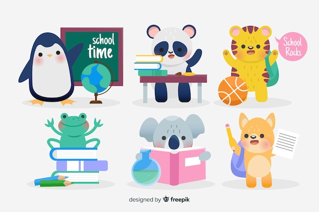 Back to school animals ready to study Free Vector