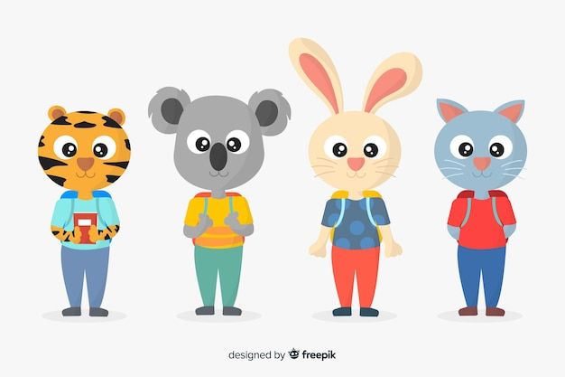 Back to school animals with big eyes Free Vector