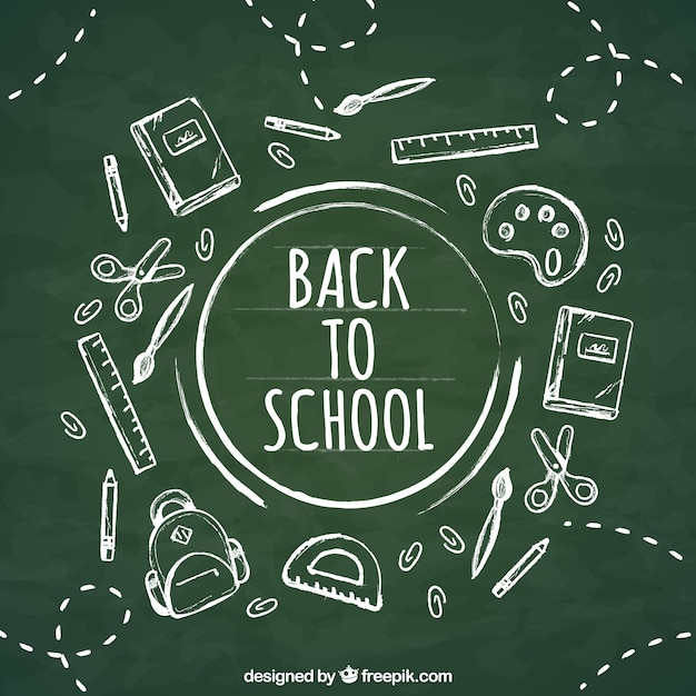 Back to school background in chalk style Free Vector