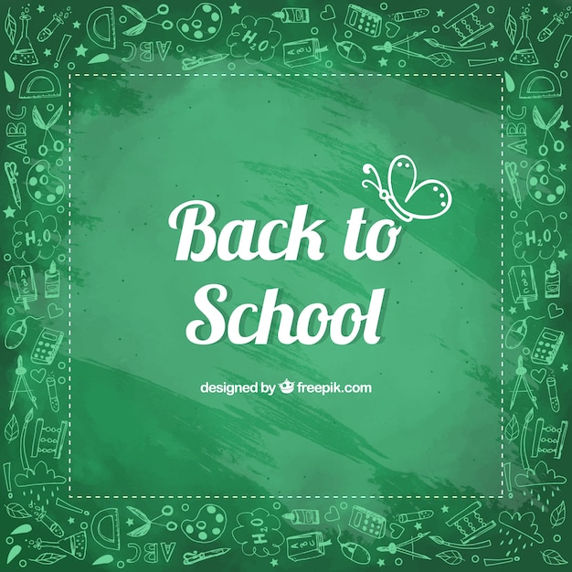 Back to school background in chalkboard style Free Vector