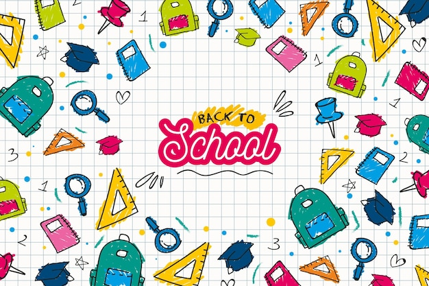 Back to school background draw concept Free Vector