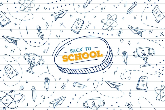 Back to school background draw theme Free Vector