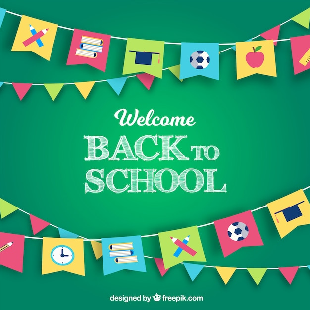 Back to school background in flat design Free Vector