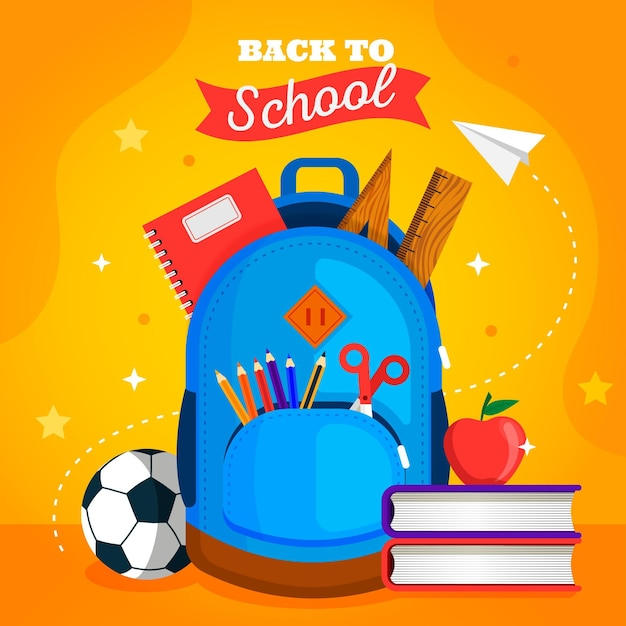 Back to school background flat design Free Vector