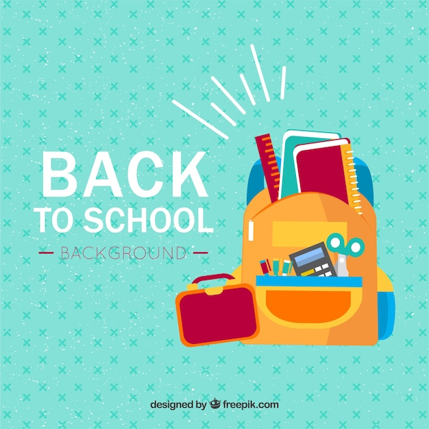 Back to school background in flat style Free Vector