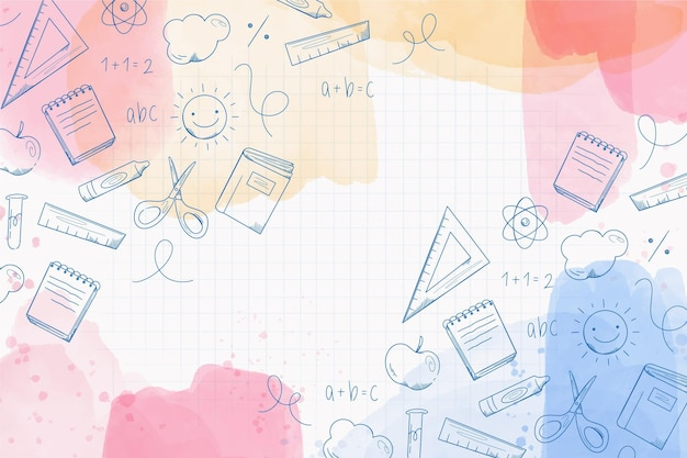 Back to school background watercolor style Premium Vector