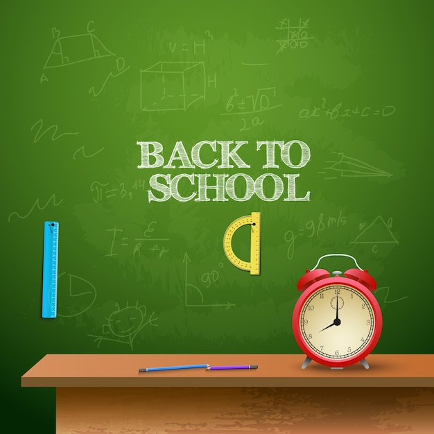 Back to school background with alarm clock, rullers and chalkboard Free Vector