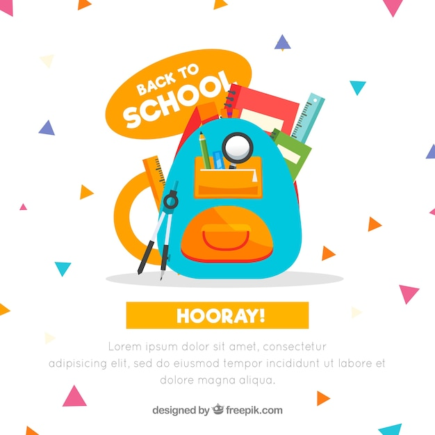 Back to school background with bag Free Vector