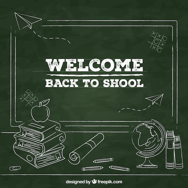 Back to school background with blackboard style Free Vector