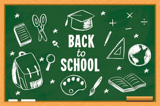 Back to school background with blackboard Free Vector