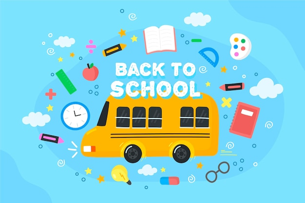 Back to school background with bus Free Vector