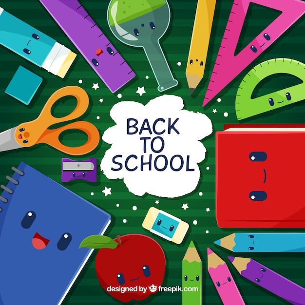 Back To School Background With Cute Cartoons Free Vector