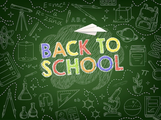 Back to school background with education supplies Premium Vector