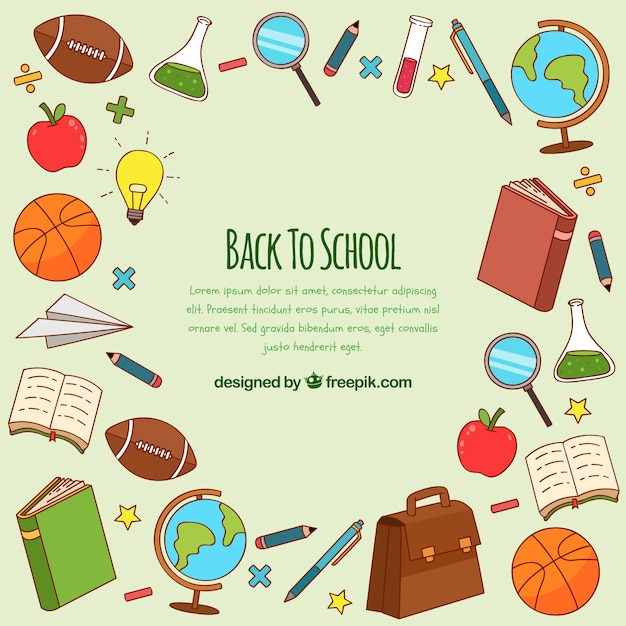 Back to school background with elements Free Vector