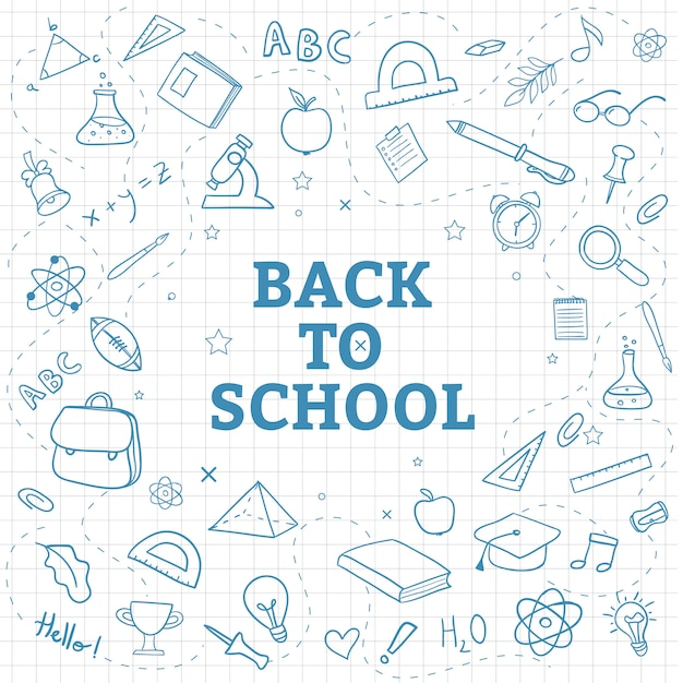 Back to school background with hand draw doodle supplies Premium Vector