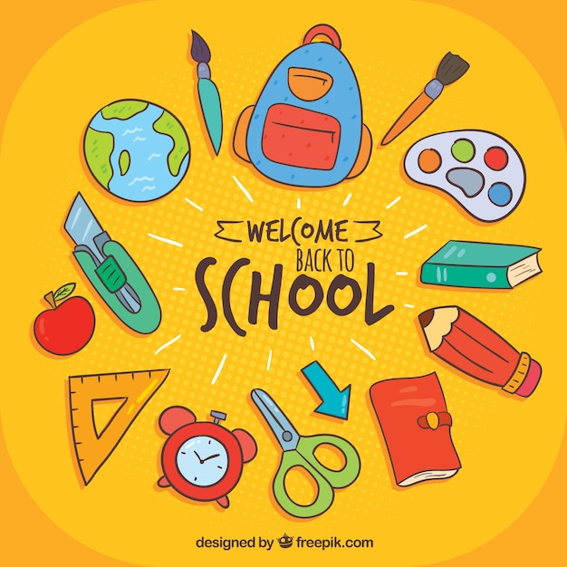 Back to school background with hand drawn style Free Vector