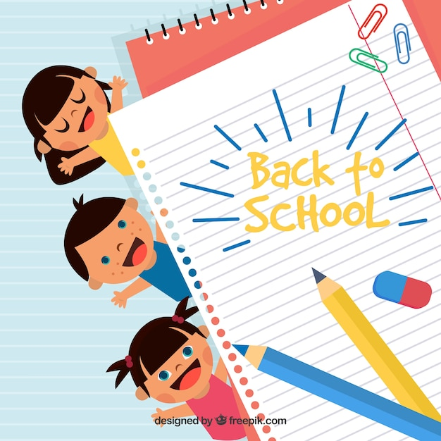 Back to school background with happy children Free Vector