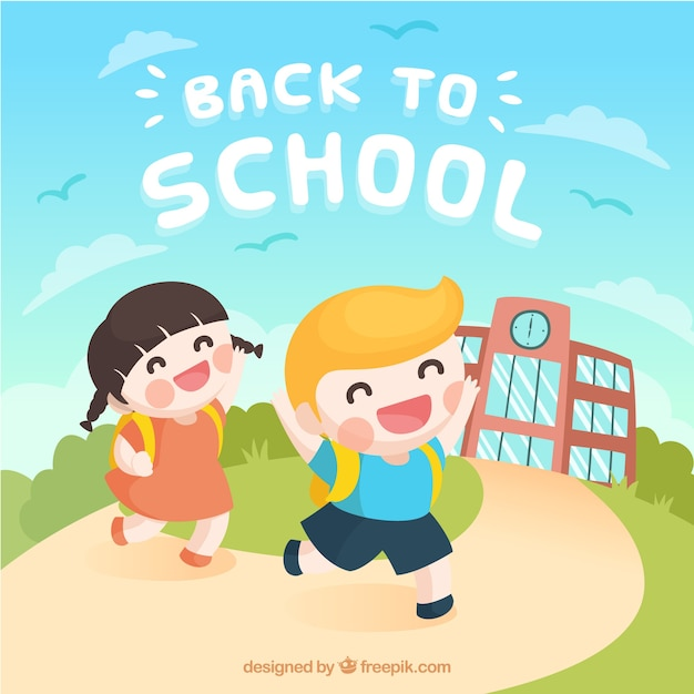 Back to school background with happy kids Free Vector