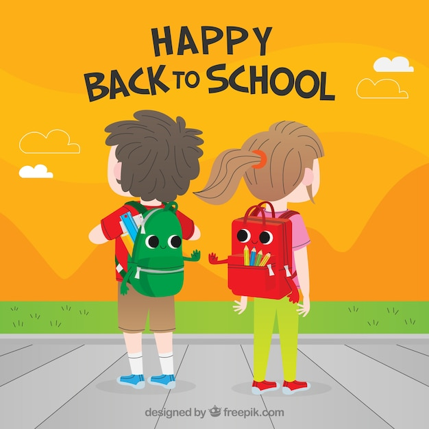 Back to school background with kids from behind Free Vector