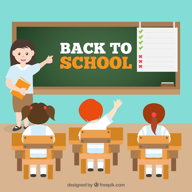 Back to school background with kids Free Vector