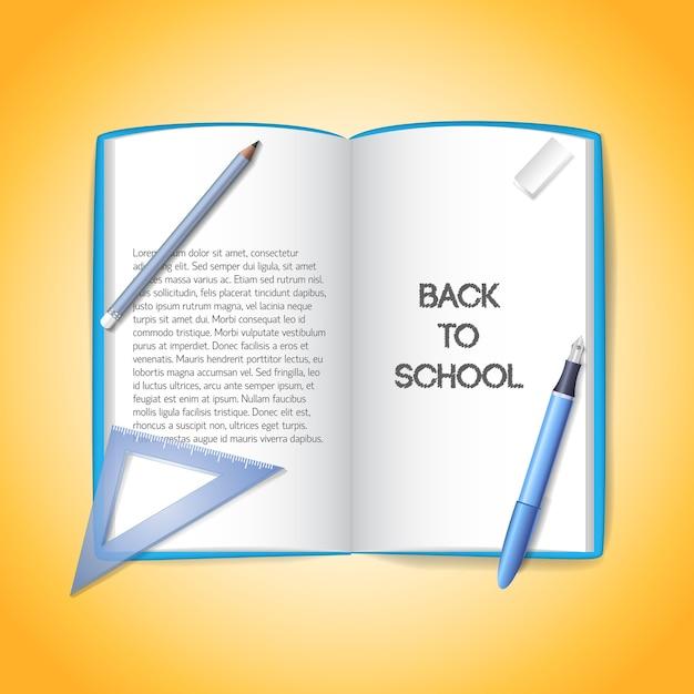 Torna a scuola sfondo con materiale scolastico Vettore gratuito
