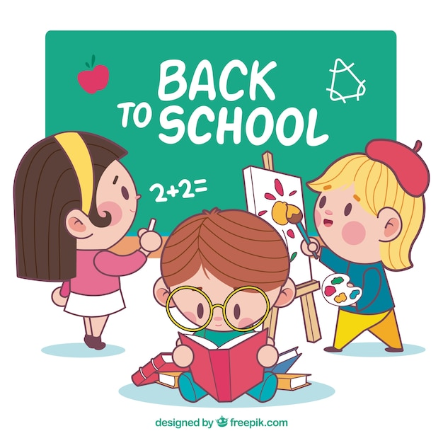 Back to school background with students Free Vector