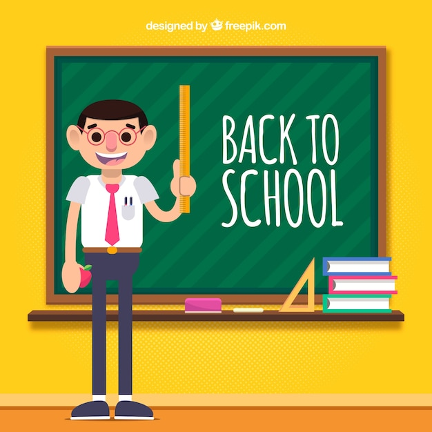 Back to school background with teacher Free Vector