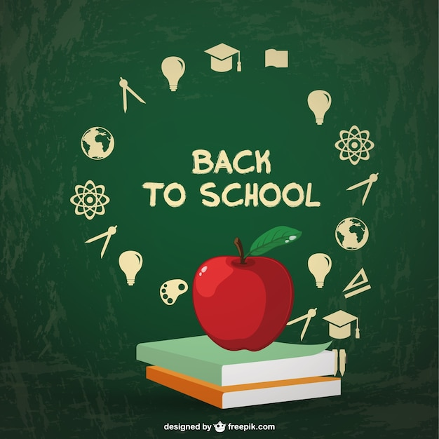 Back to school background with two books and an apple Free Vector