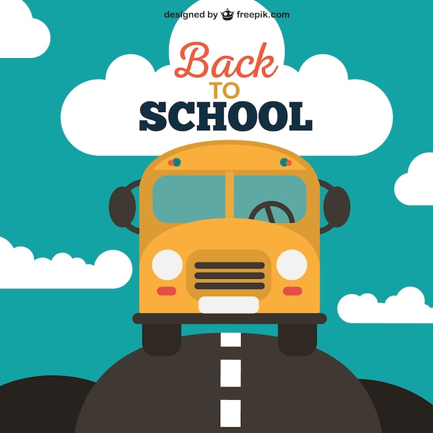 Back to school background with yellow bus Free Vector