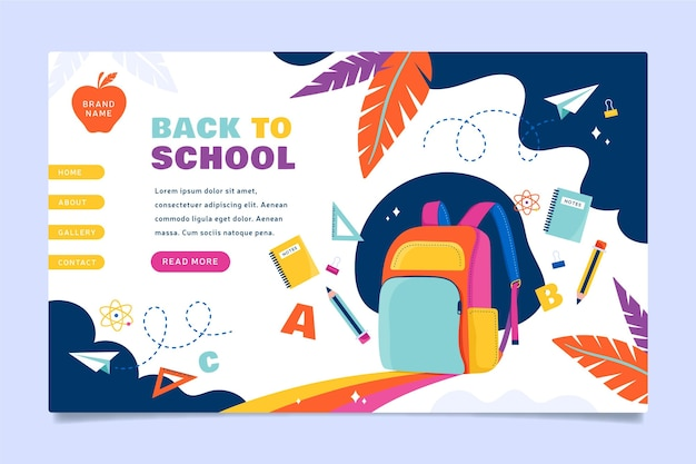 Back to school backpack landing page Free Vector