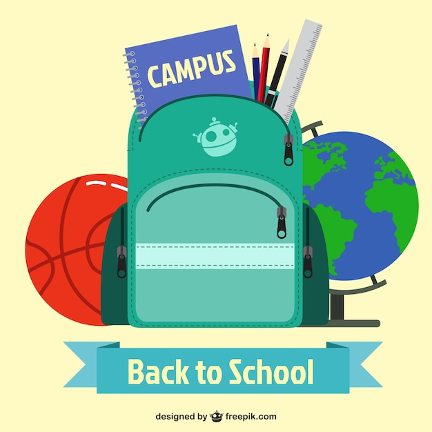 Back to school backpack and other elements Free Vector