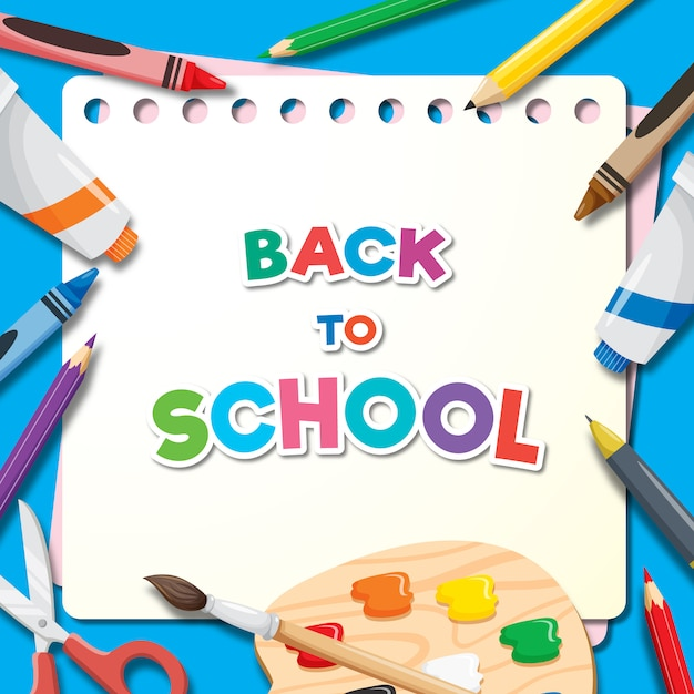 Back to school banner background Premium Vector