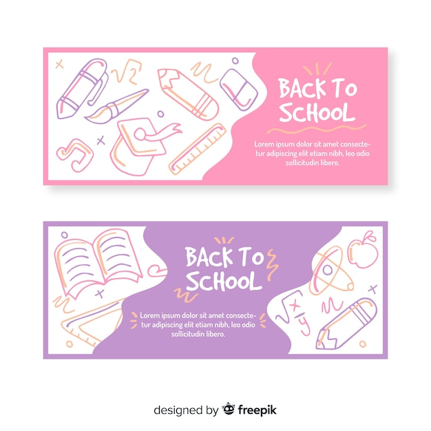 Back to school banner collection Free Vector