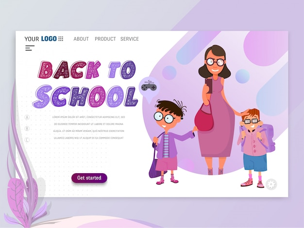 Back to school banner - landing page template Premium Vector