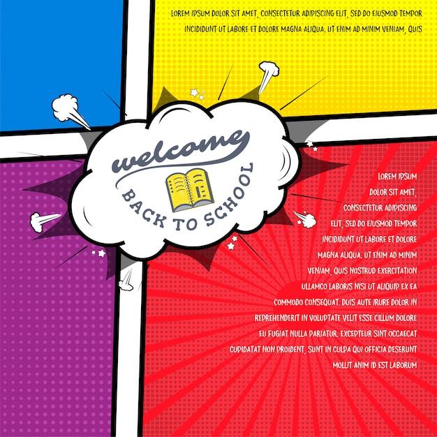 Back to school banner pop art comic style Premium Vector