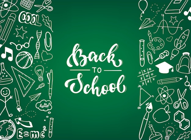 Back to school banner, poster, print Premium Vector