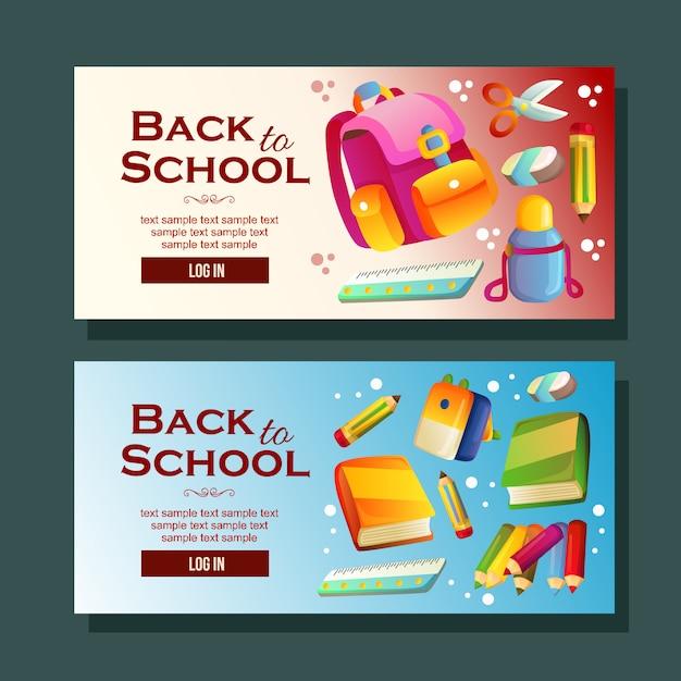 Back to school banner template horizontal school supplies Premium Vector