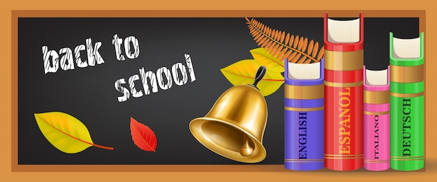 Back to school banner with bell Free Vector