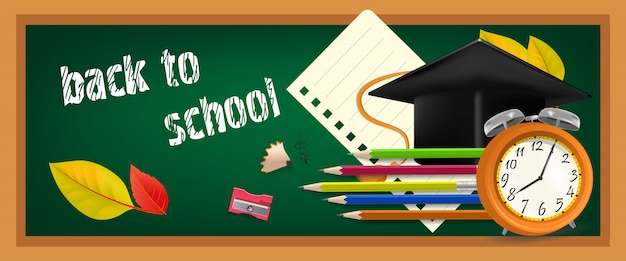Back to school banner with graduation cap Free Vector