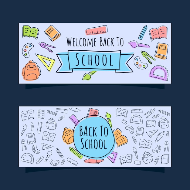 Back to school banner with line icons doodle style Premium Vector
