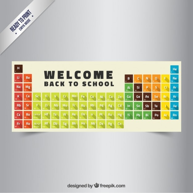 Back to school banner with periodic table Free Vector